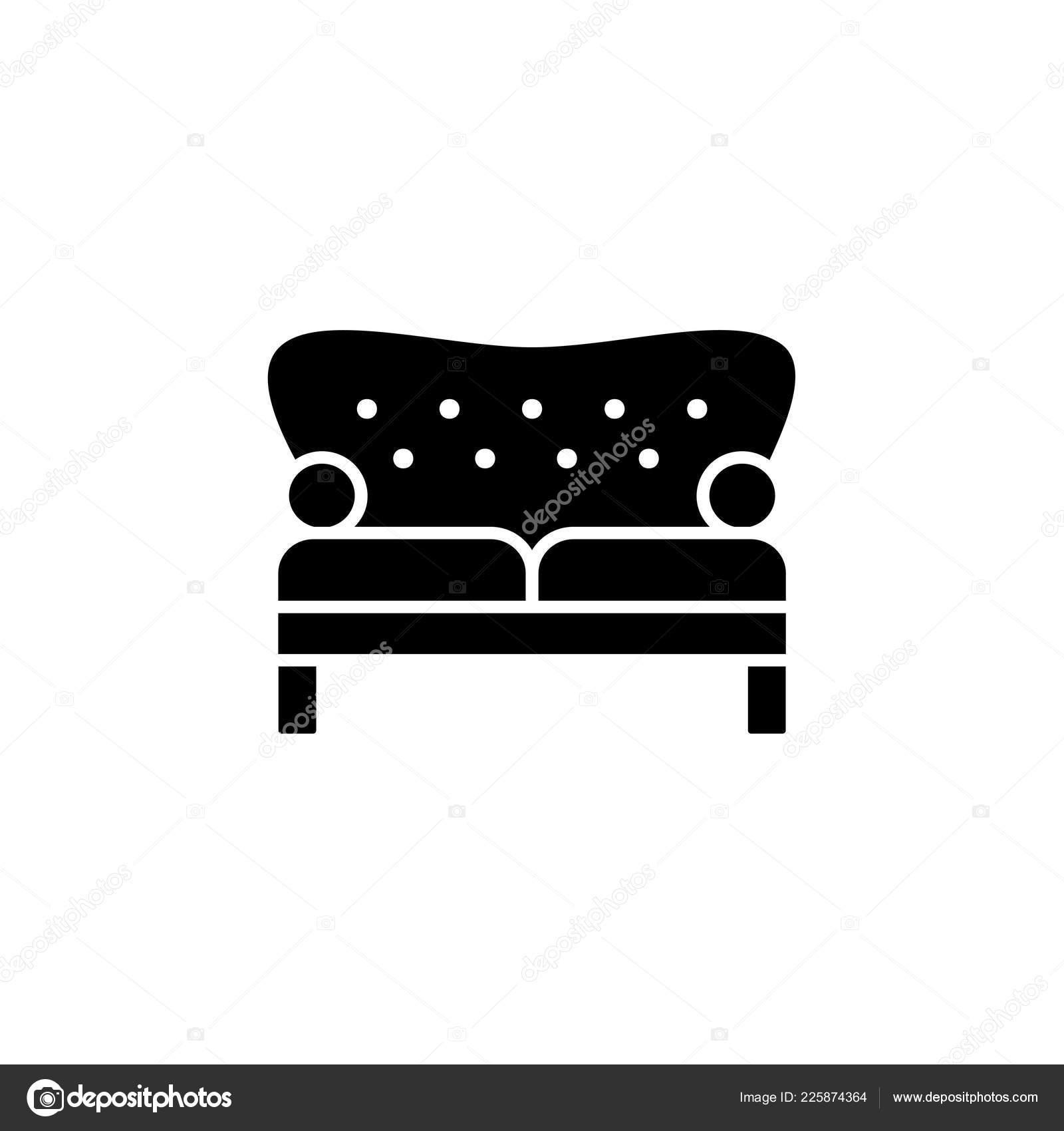 Astounding Black White Vector Illustration Vintage Loveseat Double Sofa Machost Co Dining Chair Design Ideas Machostcouk
