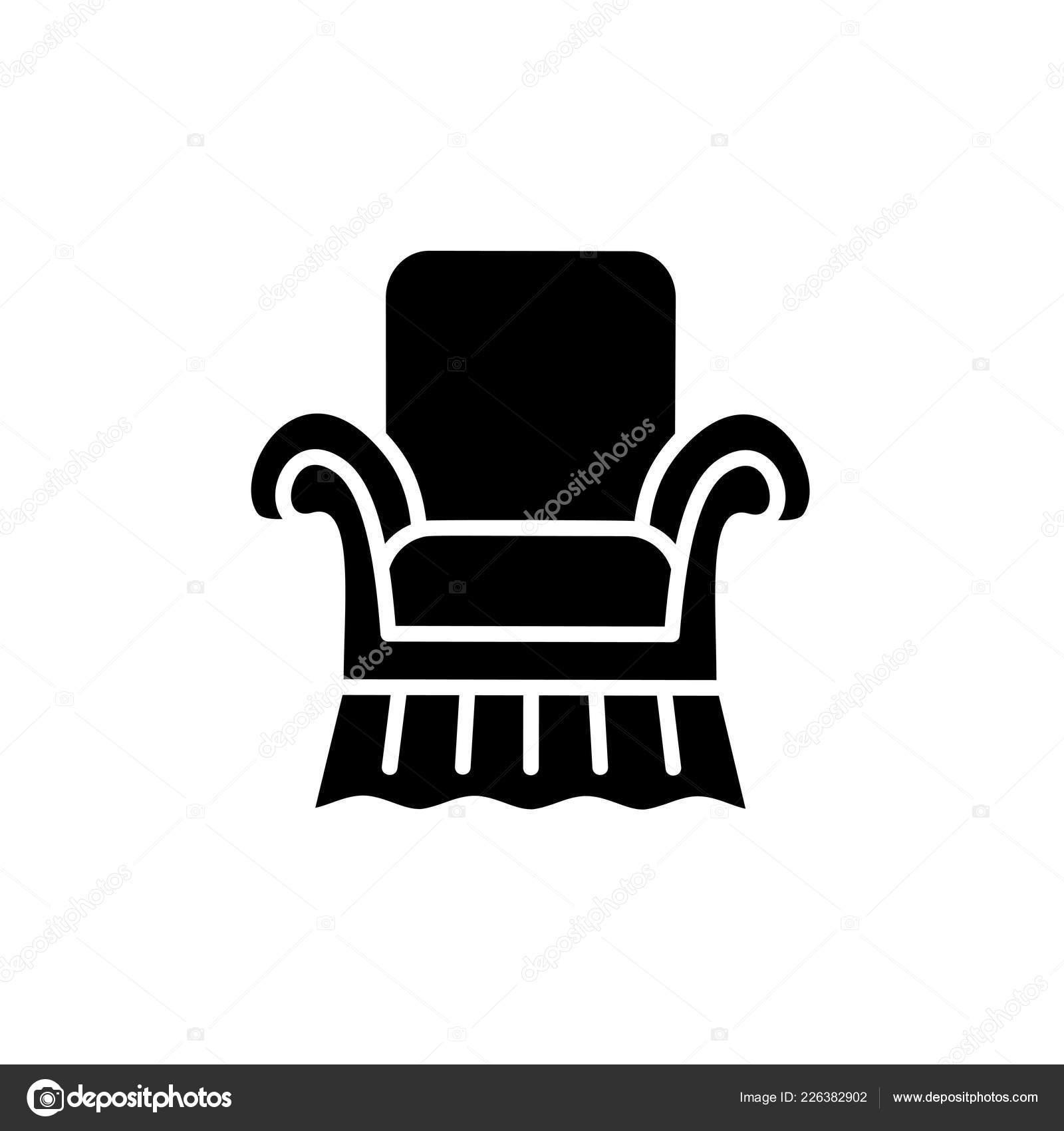 Superb Black White Vector Illustration Vintage Style Armchair High Home Remodeling Inspirations Basidirectenergyitoicom