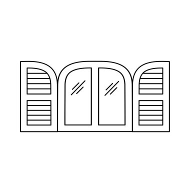 Black & white illustration of old arch window shutter. Vector line icon of wooden vintage outdoor jalousie. Isolated object on white background
