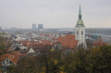 Autumn view from Bratislava castle to the city