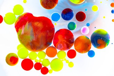 Nice color bubbles on white background abstract