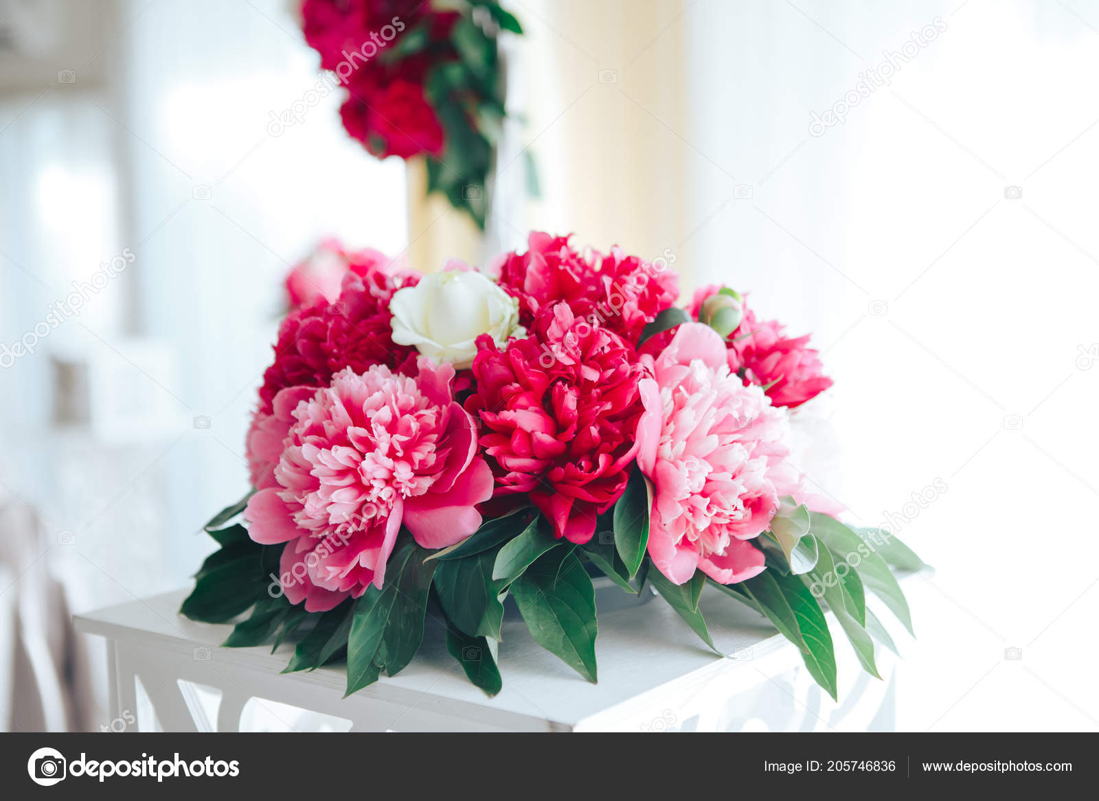 Peonies Maroon In The Restaurant Table Setting Wedding Decor Red