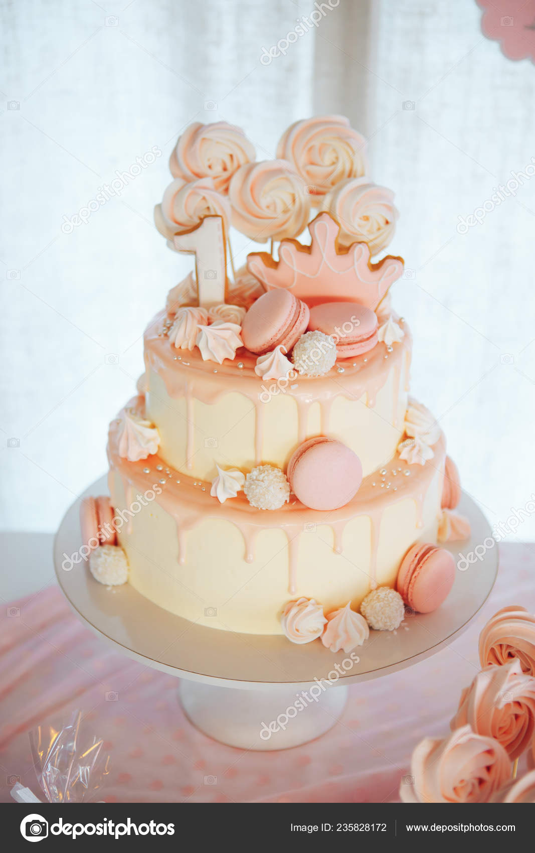 Phenomenal Cake For First Birthday Cake Decorated Macaroons Homemade Funny Birthday Cards Online Sheoxdamsfinfo