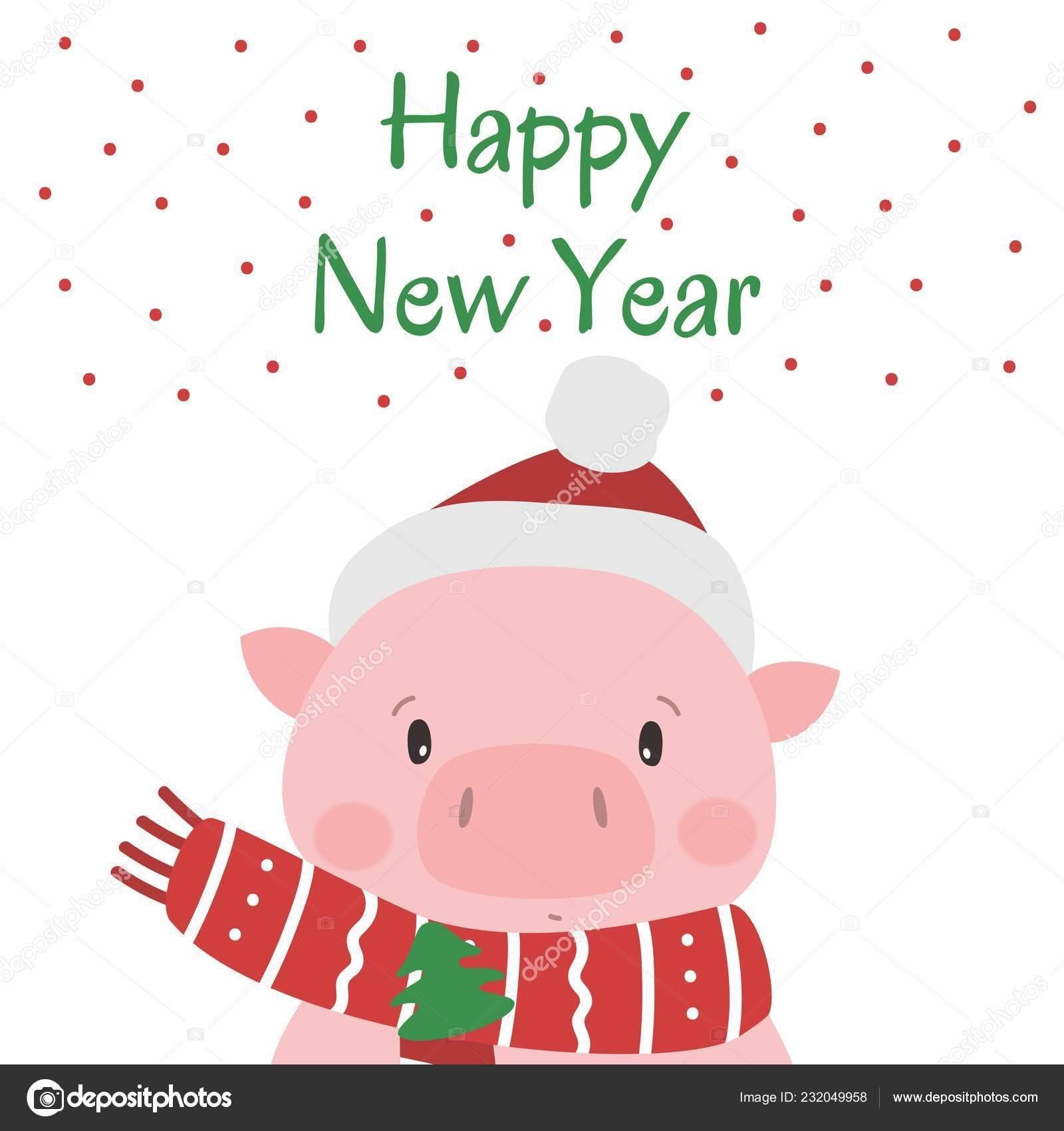 1e7b4f96676a6 Cute pig in santa hat. Symbol of Chinese New Year 2019. Vector illustration.