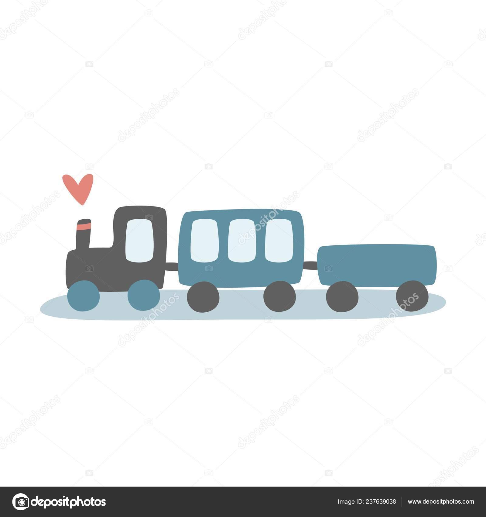Children Color Train Locomotive Wagons Print Kids Vector ...