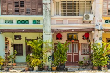Traditional chinese shophouse architecture in George Town Malaysia