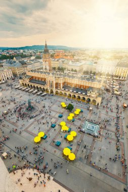 Krakow, Poland, August 14, 2016: Aerial view on the central square of Krakow, Poland
