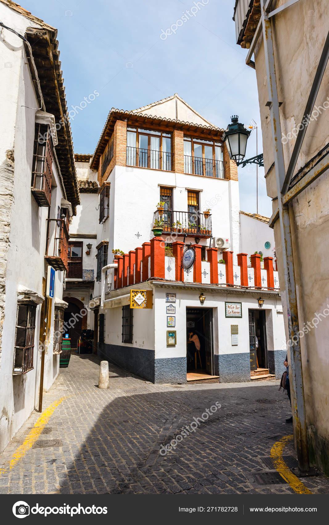 Granada, Spain, April 06, 2018: Traditional arabic architecture of