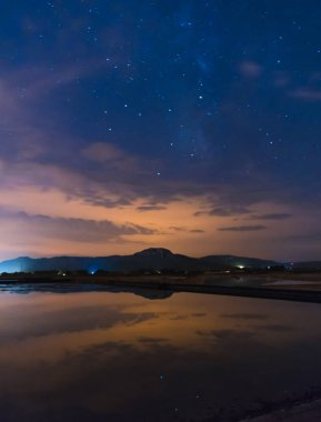 Starry sky reflected in the water with some clouds on top of a mountain