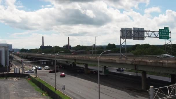 Syracuse, New York, USA. July 2, 2020. View of downtown Syracuse and Interstate 81 on a beautiful summer afternoon