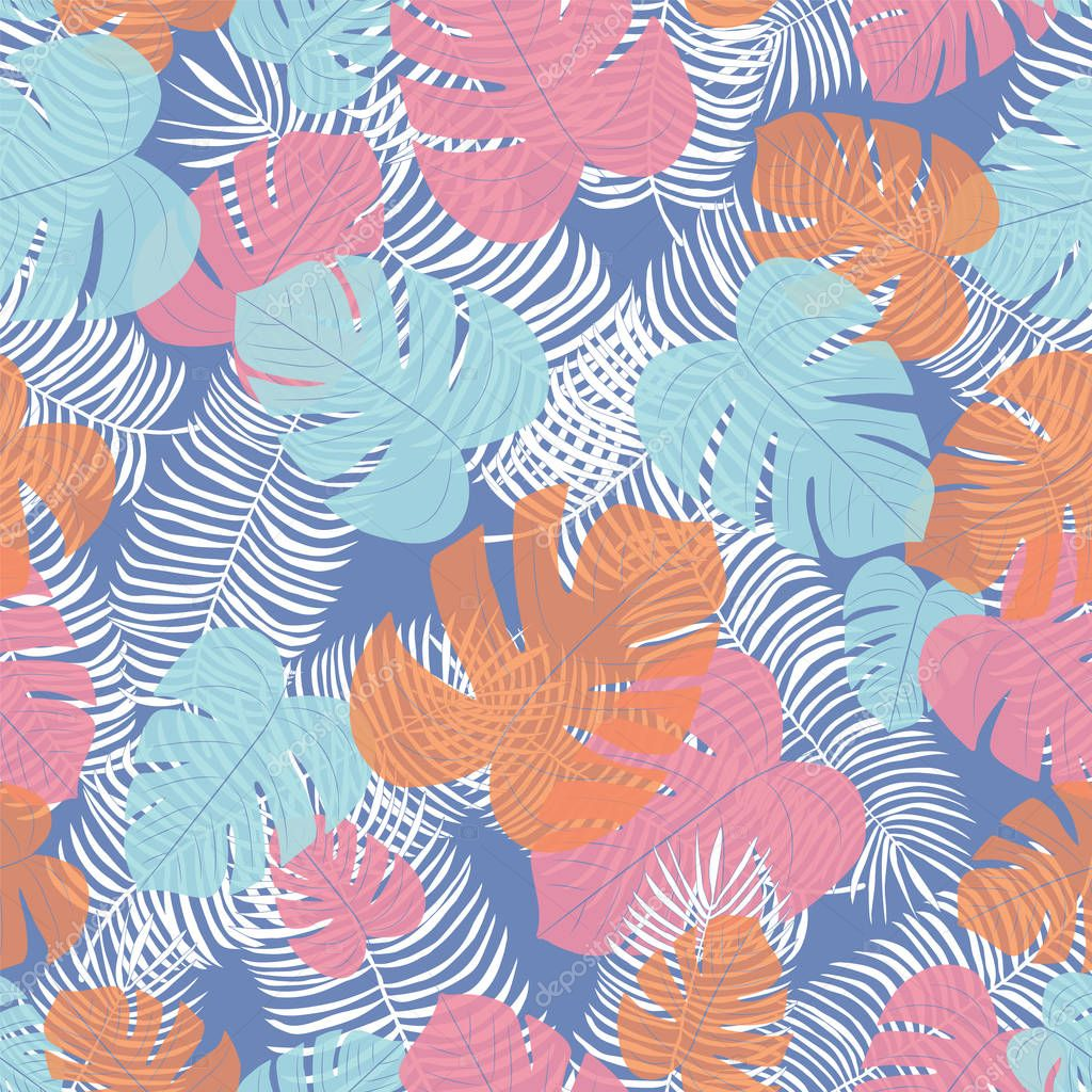 Seamless vector repeat tropical leaf pattern with a blue background.