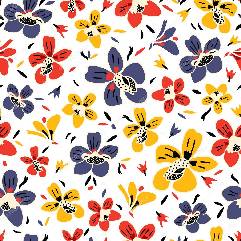 Vector seamless repeat colorful floral pattern with blue, red, and yellow flowers and white background.