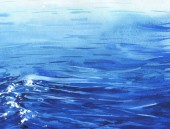 Úžasné mořské vlny modrý tisk
