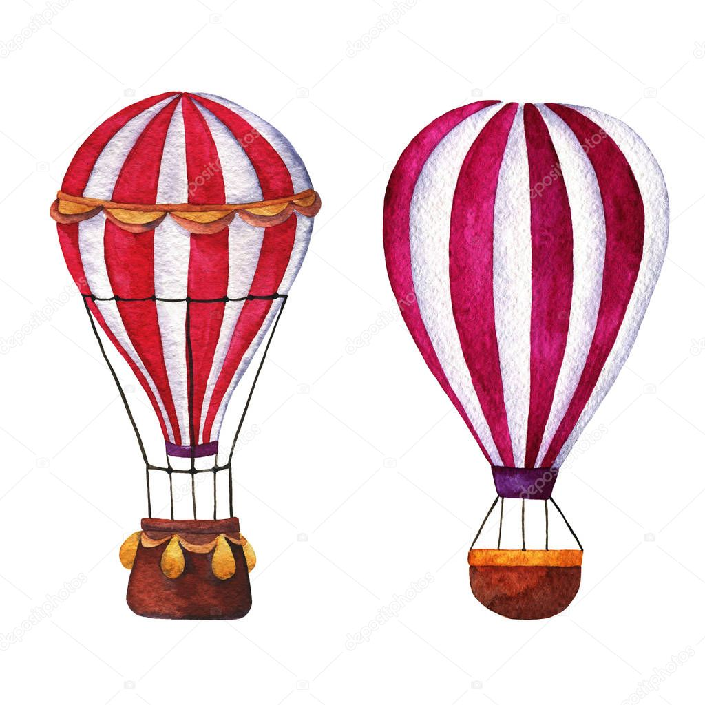 Set of hot air balloons isolated on white background. Hand drawn watercolor illustration.