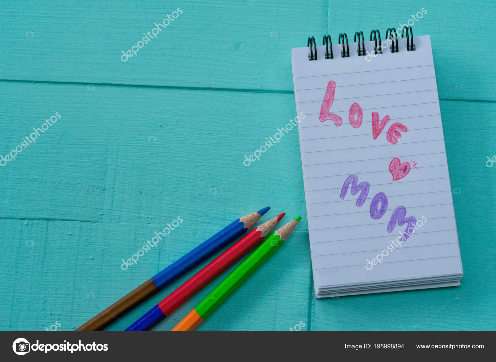 Write Love Letter Template Creative Mother Blue Background  Stock