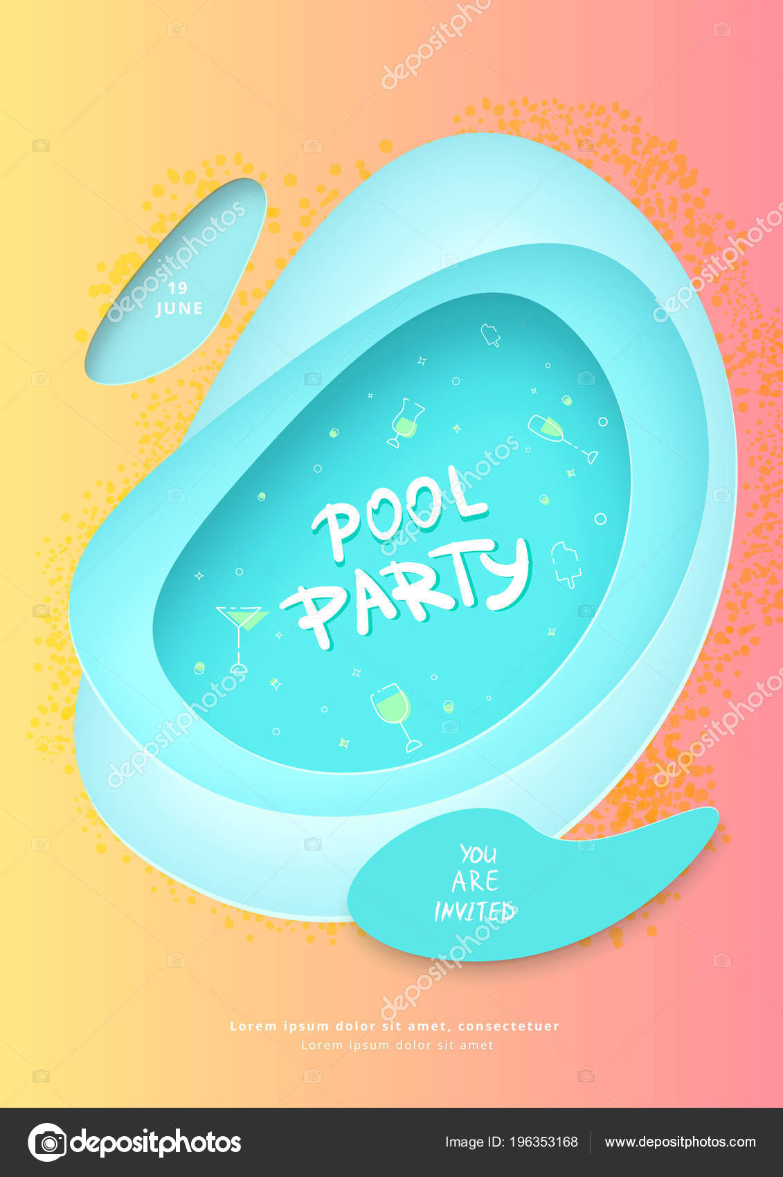 Pool Party Flyer Vertical Holiday Banner Papercut Shapes Decoration Template Stock Vector C Syuzannam 196353168
