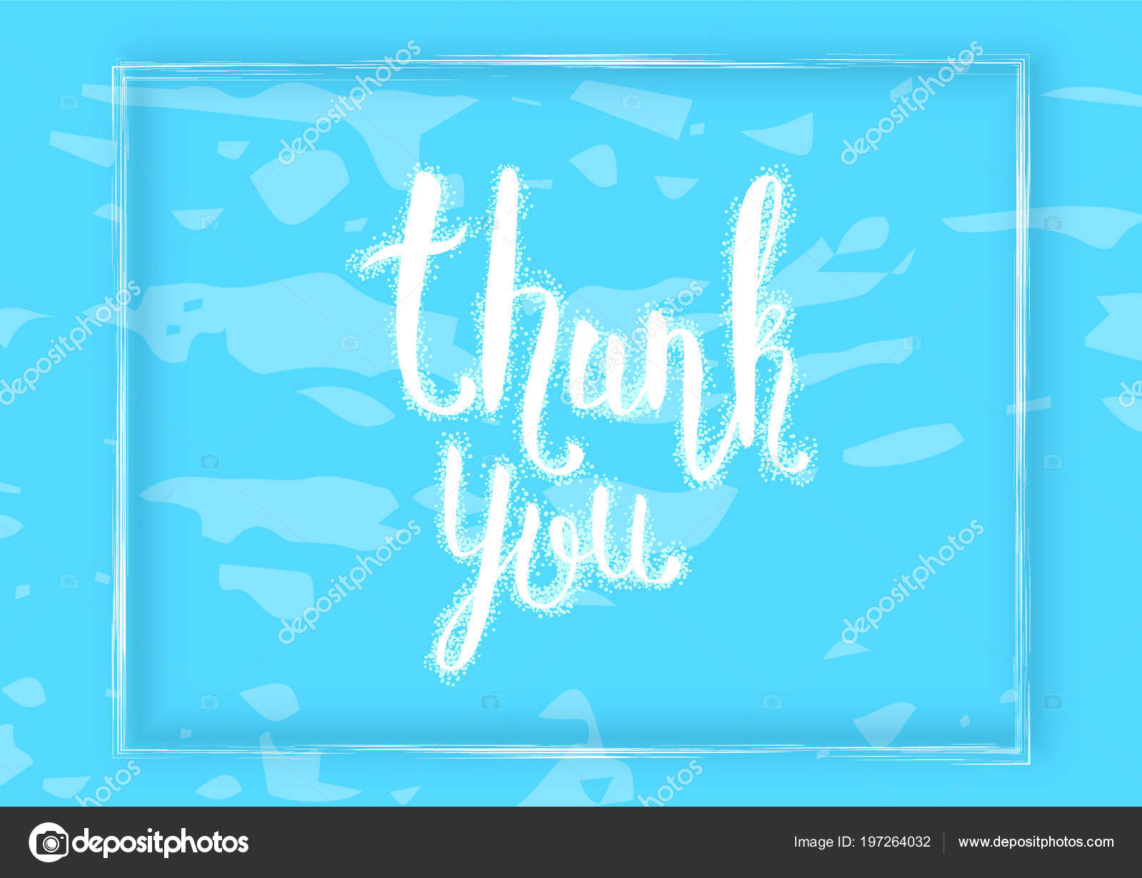 Thank You Card Blue Horizontal Banner Handwritten Lettering Vector