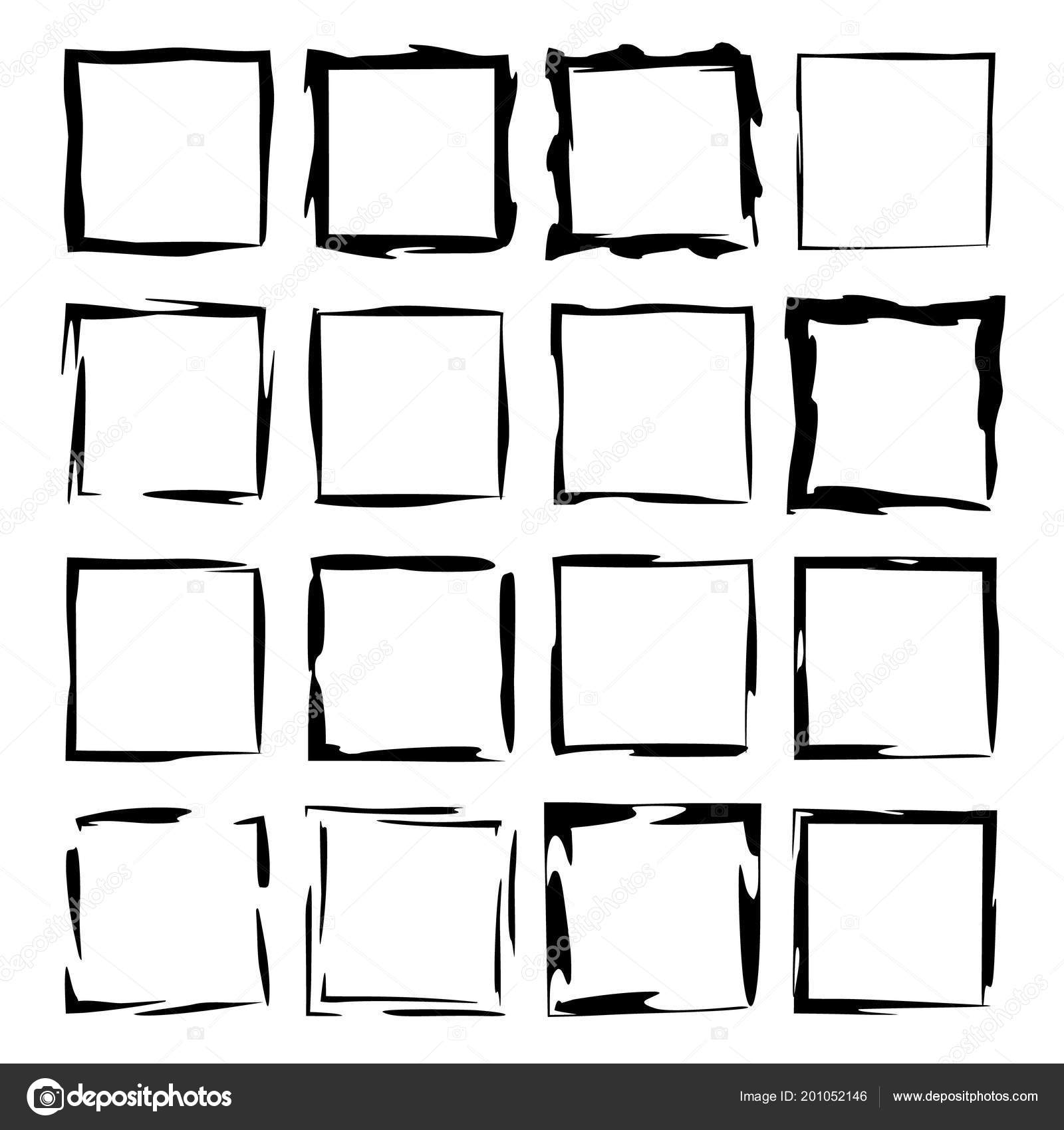 Grunge Frames Geometric Square Empty Borders Vector Illustration