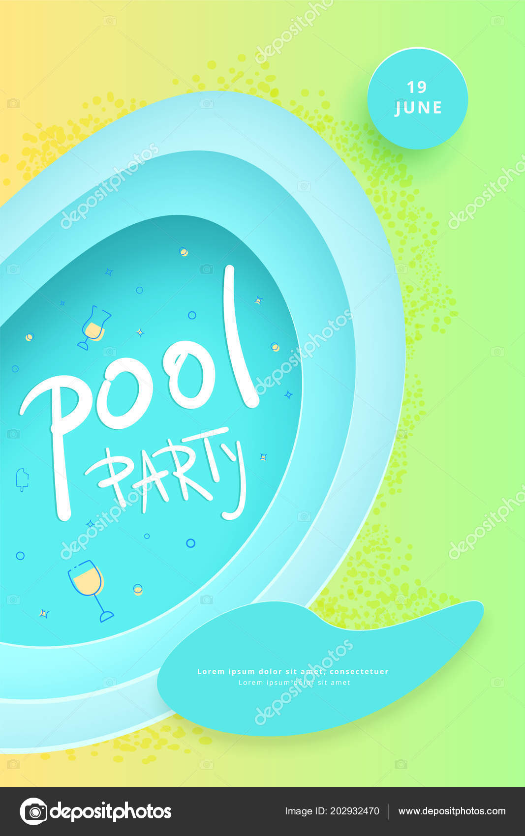 Pool Party Flyer Vertical Celebration Banner Paper Cut Shapes Decoration Stock Vector C Syuzannam 202932470
