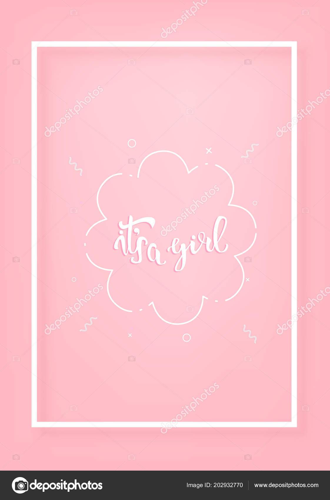 Girl Vertical Postcard Template Handwritten Lettering Vector - Vertical postcard template