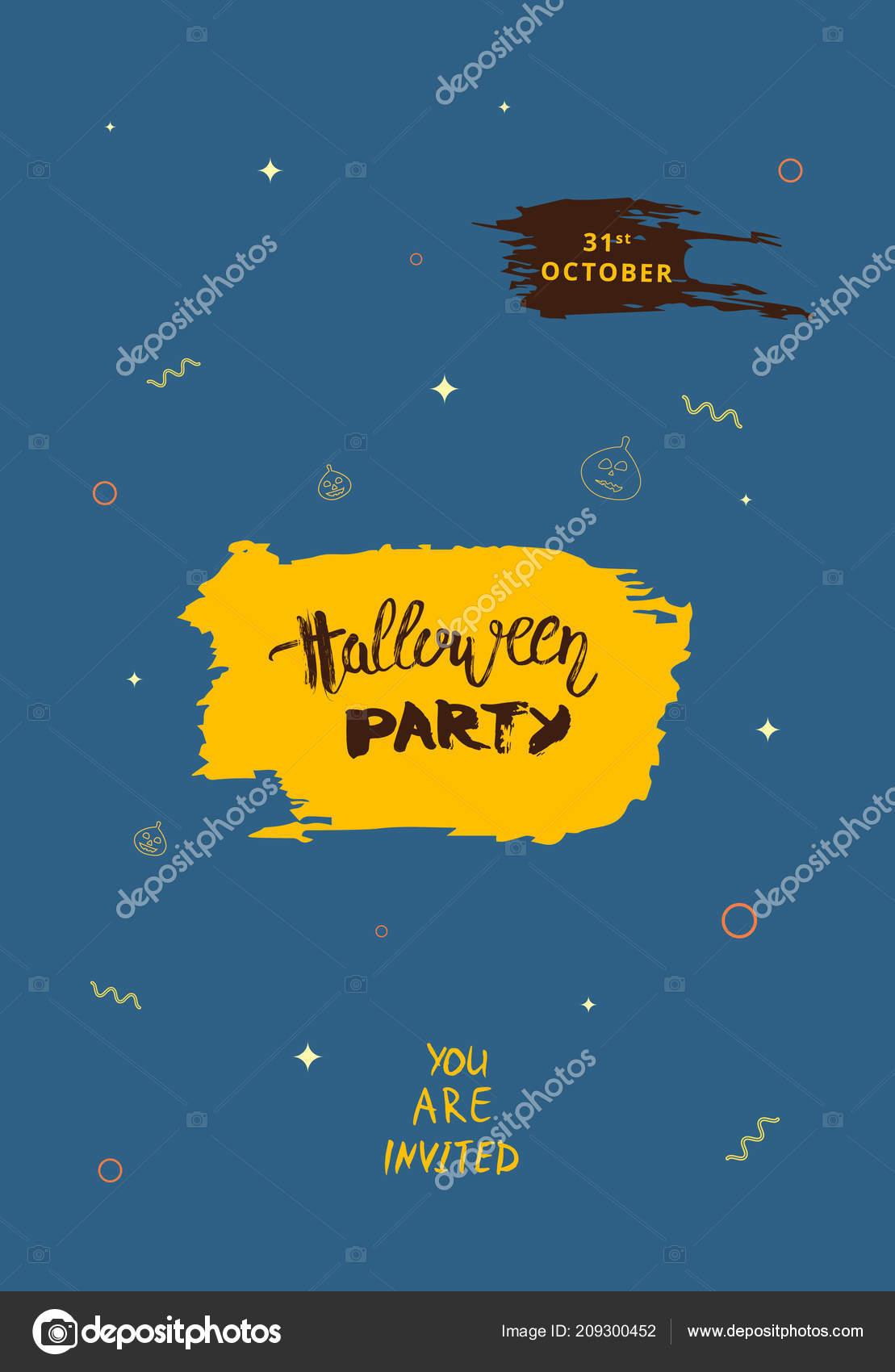 Halloween Party Template Handwritten Lettering Decoration Vertical