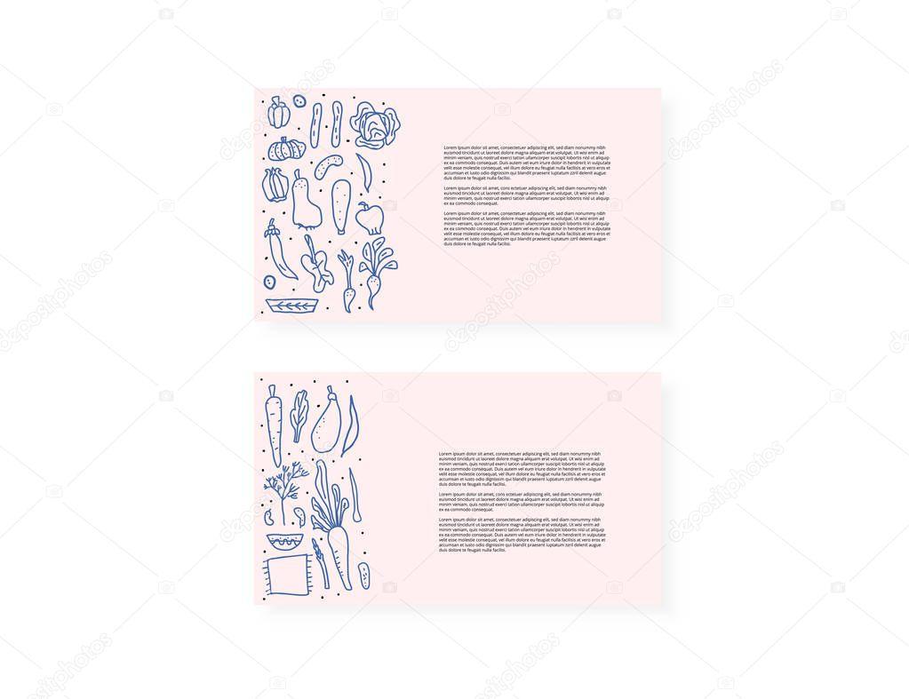 Set of vector vegetables doodle composition.