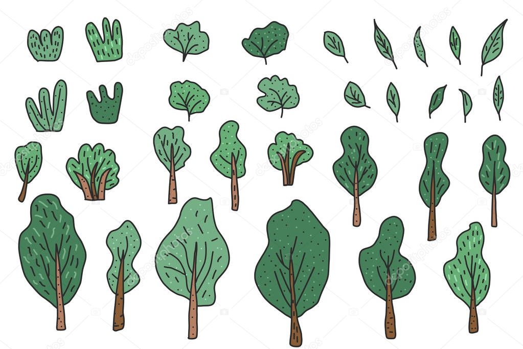 Trees and bushes vector set for social media design.