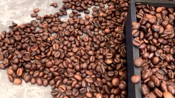 Padající pražené kávové fazole na šedé pozadí