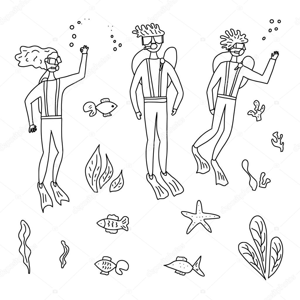 Set Of Divers And Sea Plants And Fishes In Doodle Style Woman And Two Men Swimming Underwater Isolated Set Of Sketch Vector Characters And Ocean Elements Black And White Design Illustration