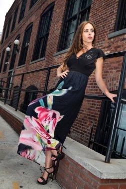 Fashion photo of glamour sensual young stylish lady in elegant long dress.