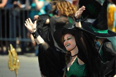 NEW YORK, NY - JUNE 16: The Salmon Witch Tryals  participate in the 36th annual Mermaid Parade in Coney Island on June 16, 2018 in New York City.