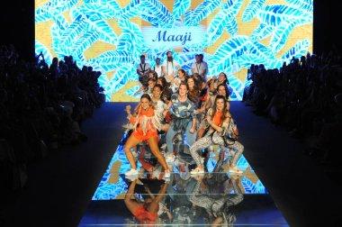 MIAMI BEACH, FL - JULY 15: Dance performance on the runway for Maaji during the Paraiso Fasion Fair at The Paraiso Tent on July 15, 2018 in Miami Beach, Florida.