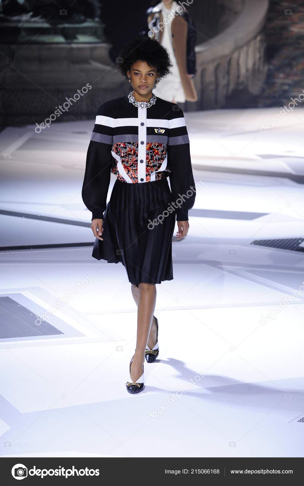 78fa1f1762e Paris France March Model Walks Runway Louis Vuitton Show Part ...