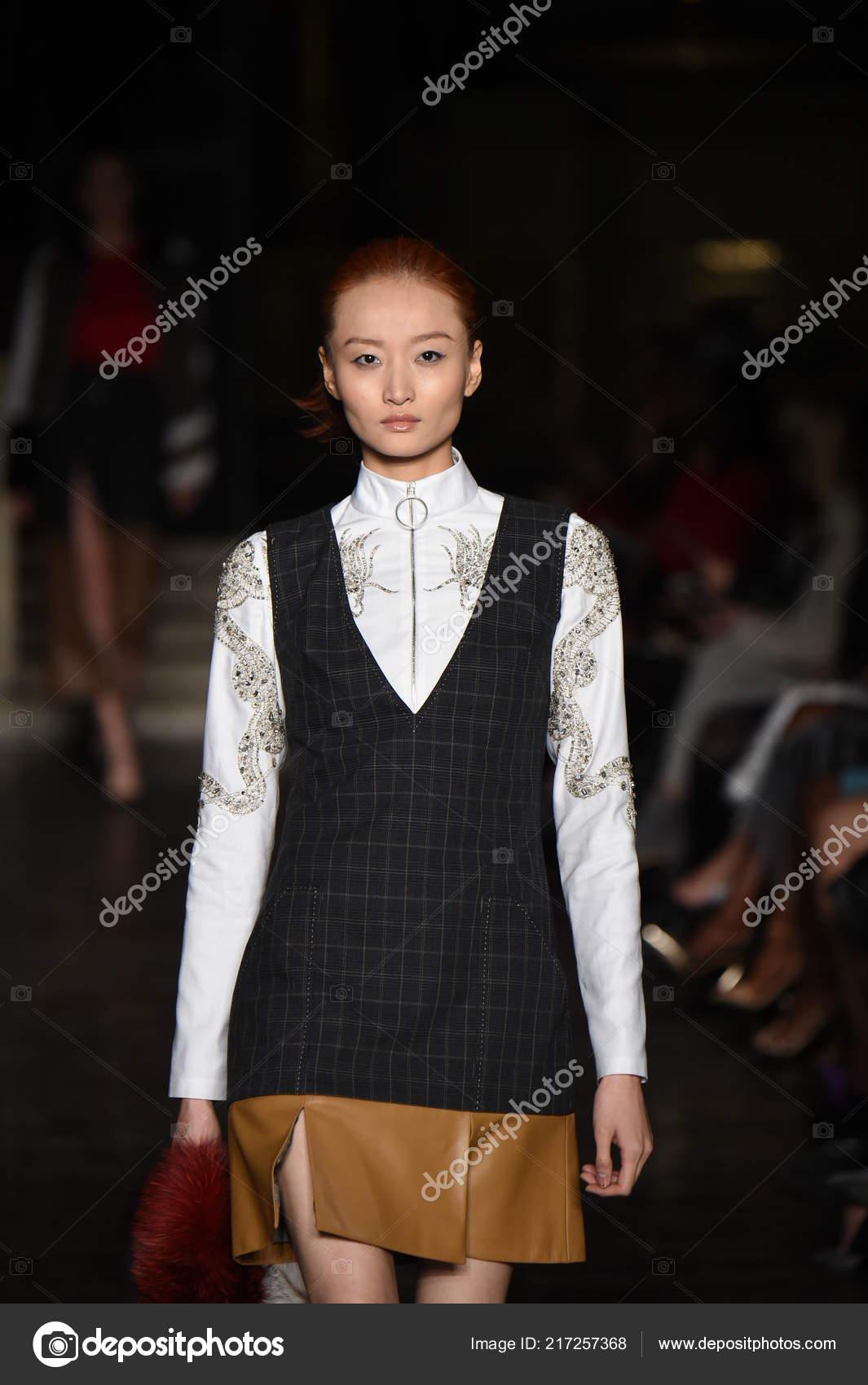 New York February Model Walks Runway Dennis Basso Show Part