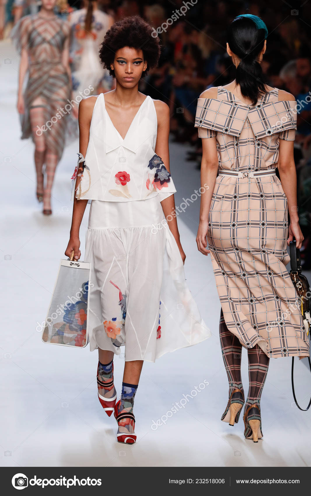 8e3e18d118e Milan Italy September Model Walks Runway Fendi Show Milan Fashion ...
