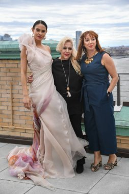 NEW YORK, NY - APRIL 15: Ines Di Santo, Veronica Di Santo and model posing during the Ines Di Santo Spring 2020 bridal fashion presentation at New York Fashion Week: Bridal on April 15, 2019 in NYC.
