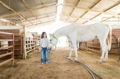 Photo Full length of little rancher standing with white horse in stable