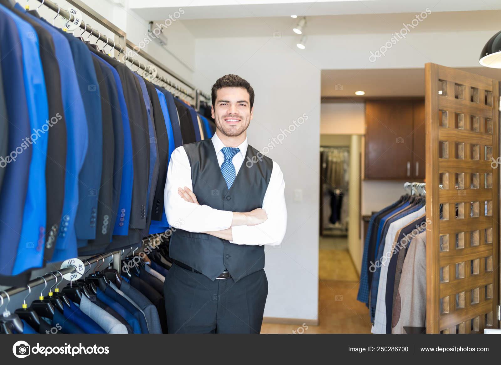 Portrait Latin Entrepreneur Waistcoat Standing Arms Crossed