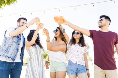 Carefree young men and women toasting beer glasses at outdoor summer party