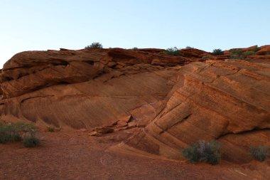 Closeup of red sandstone rock of Horseshoe Bend Arizona during sunset