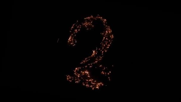 Číslo 2 pálení, doutnající, zářící