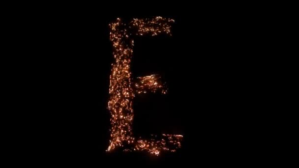 Letter E burning. Steel wool smoldering. Beautiful combustion.