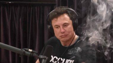 Elon Musk smokes weed on Joe Rogan's podcast. Vector