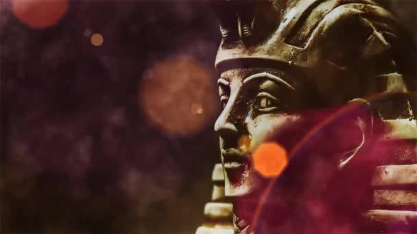 ancient stone pharaoh Tutankhamen mask, video
