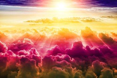 creative cloudy sky background with sun, fantasy sky