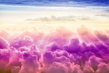 creative cloudy sky background with sun, fantasy sky