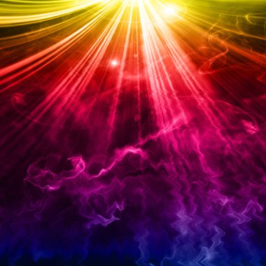 glowing background with bright rays of light  with abstract white smoke