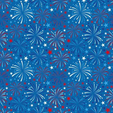 4th of July background with fireworks on blue background