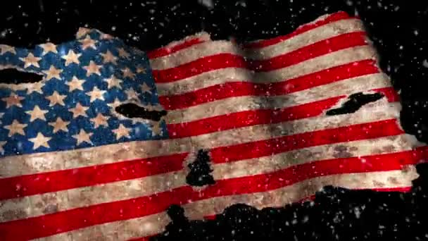 Grunge American flag waving on dark background