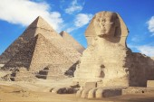 Fotografie Egypt Cairo - Giza. General view of pyramids with Sphinx